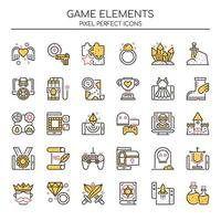 Set of Duotone Thin Lines Game Elements Icons