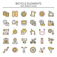 Set of Duotone Thin Line Bicycle Icons