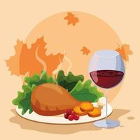 turkey dinner of thanksgiving day with cup wine vector
