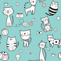 Cute Cat Blue Seamless Pattern