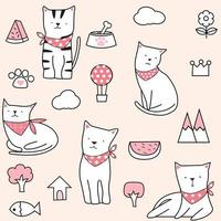 Cute Pink Summer Cat Seamless Pattern