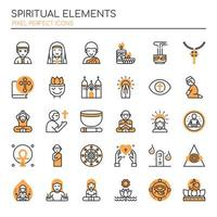 Set of Duotone Thin Line Spiritual Elements