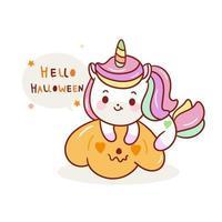 Unicórnio fofo para desenhos animados de halloween