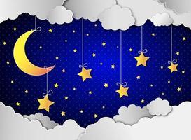 Lua e estrelas nas nuvens.