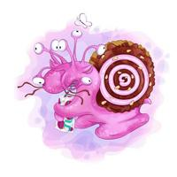 Multi-eyed cartoon snail with a shell of biscuits drinking a juice box vector