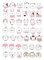 Cute baby animals  hand drawn style,for printing,card, t shirt,banner,product.vector illustration