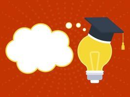 Chapeau de graduation sur ampoule avec bulle de dialogue