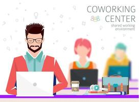 People working on laptops. Concept of the coworking center.