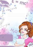 Template for notebook or notepad with Girl student
