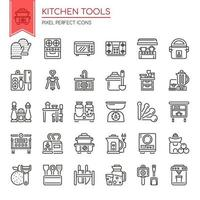 Set of Black and White Thin Line Kitchen Tools  vector