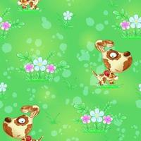 Seamless pattern with cute puppy and flowers on green background