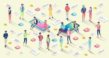 Isometric concept with mobile phones and people