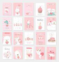 Cute baby animals hand drawn style vector