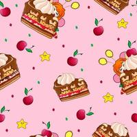Seamless pattern with sweets and a tiny red-haired sweet tooth