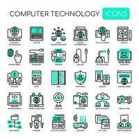 Set of Monochrome Thin Line Computer Technology Icons