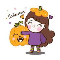 Halloween cartoon kawaii girl character vector