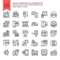 Set of Black and White Thin Line Multimedia Elements