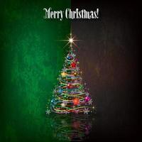 Saudação de Natal com árvore e decorações
