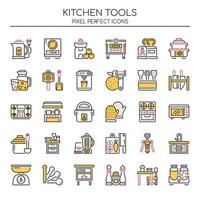 Set of Duotone Thin Line Kitchen Tool Icons