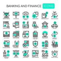 Set of Monochrome Thin Line Banking and Finance Icons