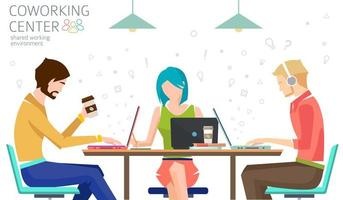 People working at table. Concept of shared working environment. vector