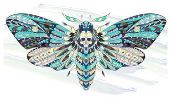 Patterned butterfly or moth on grunge background