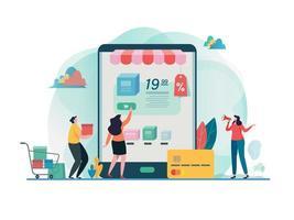 Winkelen op mobiel. Online winkel plat ontwerp.