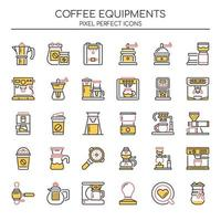 Set of Duotone Thin Line Coffee Equipment Icons