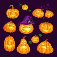 Set of scary glowing carved pumpkins for Halloween
