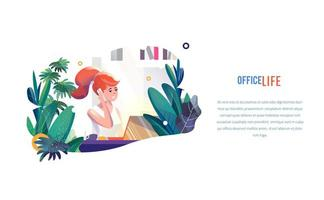 Businesswoman works in office in flat style