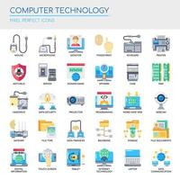 Set of Flat Color Computer Technology Icons