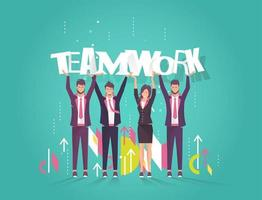 People holding up letters spelling the word teamwork vector