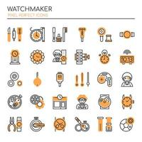 Set of Monochrome Thin Line Watchmaking Icons  vector