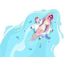 Woman in unicorn floating on water