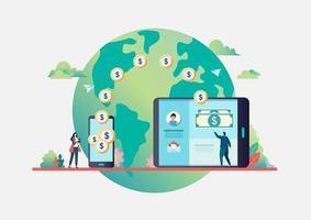 Online overschrijving. Mensen sturen geld via smartphone.