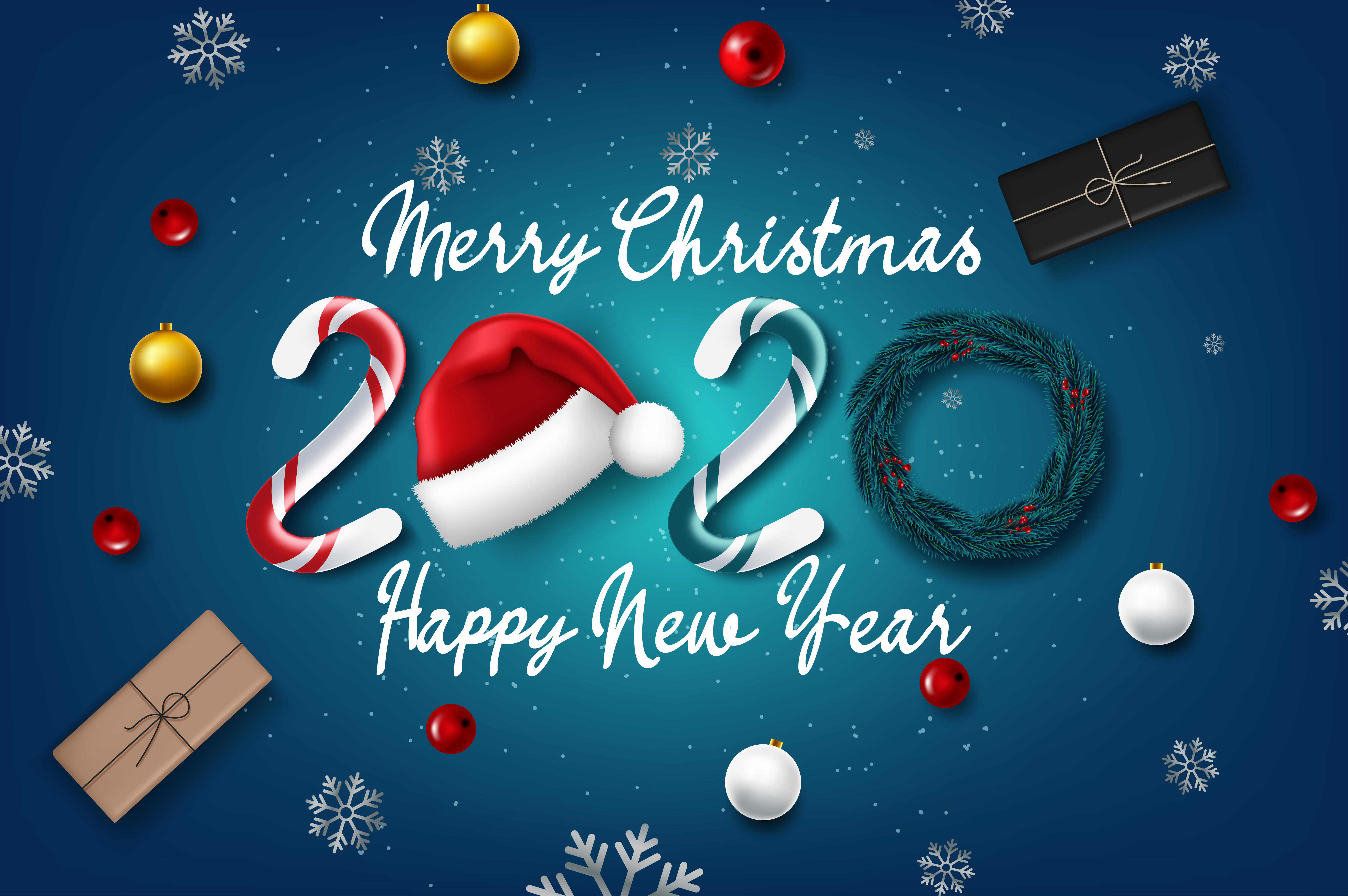Christmas 2020 2020 new year card with Christmas   Download Free Vectors, Clipart