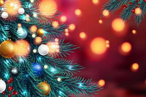 Christmas tree branches with blurred lights