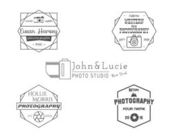 Vintage Photography Badges, Labels. Monochrome design with stylish old cameras and elements.