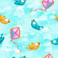 Seamless pattern with birds and kites