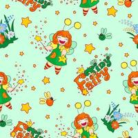 Seamless pattern with a funny red-haired fairy