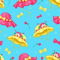 Summer seamless pattern with summer hats vector