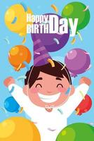 birthday card with little boy celebrating vector