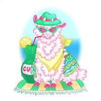 Pink llama in a poncho