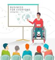 Disabled man giving lecture