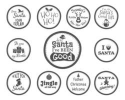 Insignia de Navidad y elementos de diseño con signos divertidos, citas para niños vector