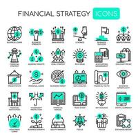 Set of Monochrome Thin Line Financial Strategy Icons