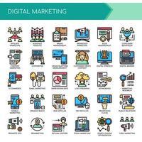 Set di icone di marketing digitale di linea sottile di colore