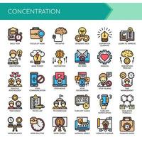 Set of Color Thin Line Concentration Icons