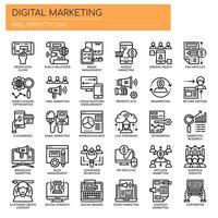 Set di icone di marketing digitale bianco e nero linea sottile