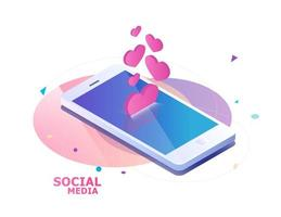 Mobile phone and falling hearts and likes vector